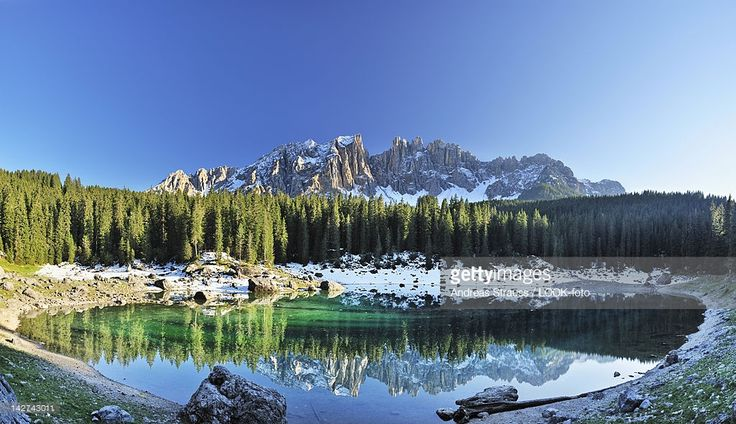 Panorama of lake Karersee with Latemar mountain range in the background, Dolomites, UNESCO World Heritage Site, South Tyrol, Italy