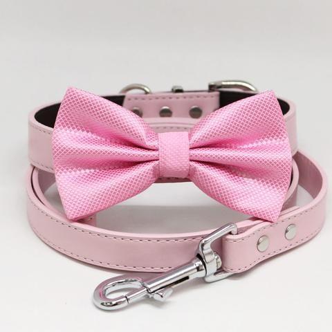 Pink Bow tie Dog collar Leash, Handmade Birthday gift, Puppy wedding, Pink Lover