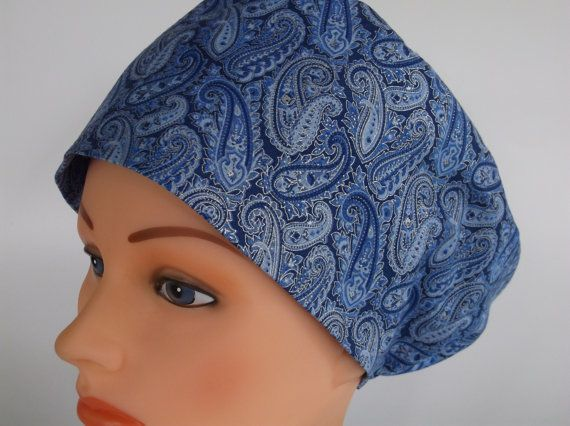 Silver Blue Paisley Rave or Mini Rave  Surgical scrub by Headlids