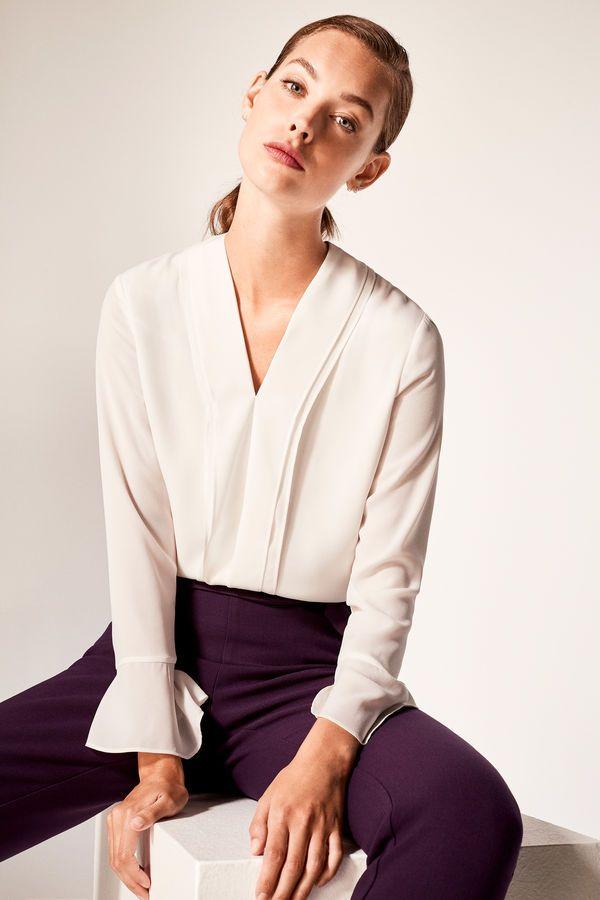 Cortefiel Blusa Cruzada Blanco Vestido Cortefiel Ropa Camisas Mujer