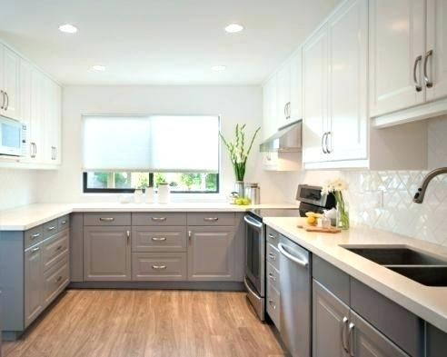 Wondrous Houzz Kitchen Cabinets Grey Kitchen Ideas Two Color Kitchen Home Remodeling Inspirations Genioncuboardxyz