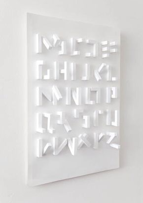 3D Typeface, only visible from one angle, by Stefan Abrahams _