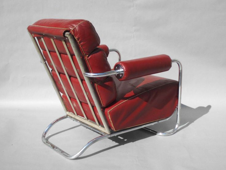 Machine Age Leather And Chrome Lounge Chair By Rohde   From A Unique  Collection Of Antique