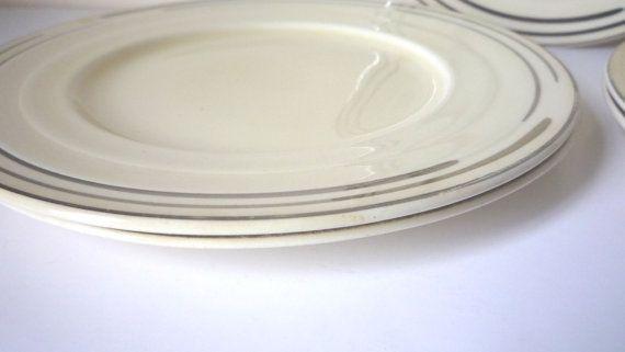 Art Deco Tea Side Plates Set 6 Cream Pottery Vintage Grindley England Collectable Silver Line Stylish Retro Wedding Gift