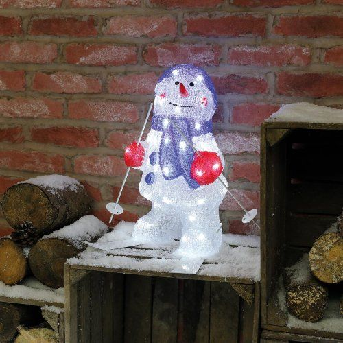 Our adorable Outdoor Snowman on Skis Acrylic Christmas Figure features 48 white LEDs and is perfect to add a sense of fun to your #christmasdecor
