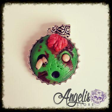 Handmade Polymer Clay Zombie Cookie Pendant
