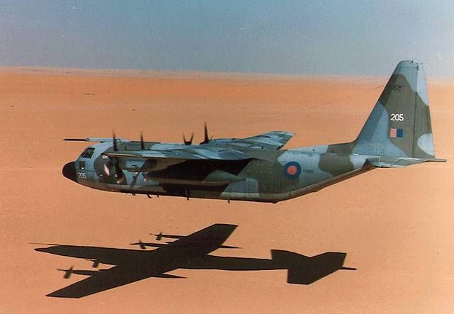 RAF C-130 Hercules low over the desert