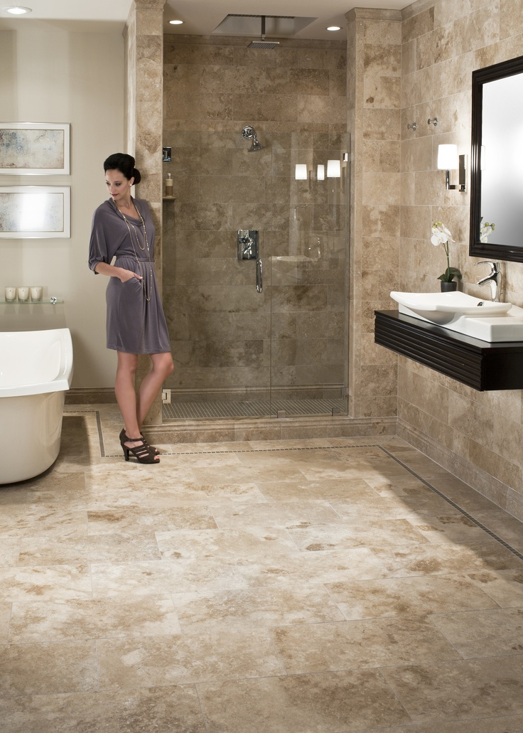 Travertine bathroom perhaps overall the most middle of the road for house resale master bath for Travertine tile bathroom ideas