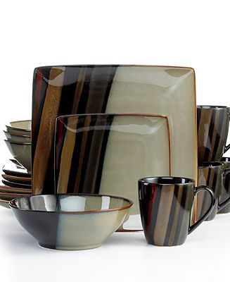 Sango Dinnerware, Avanti Black 16 Piece Set
