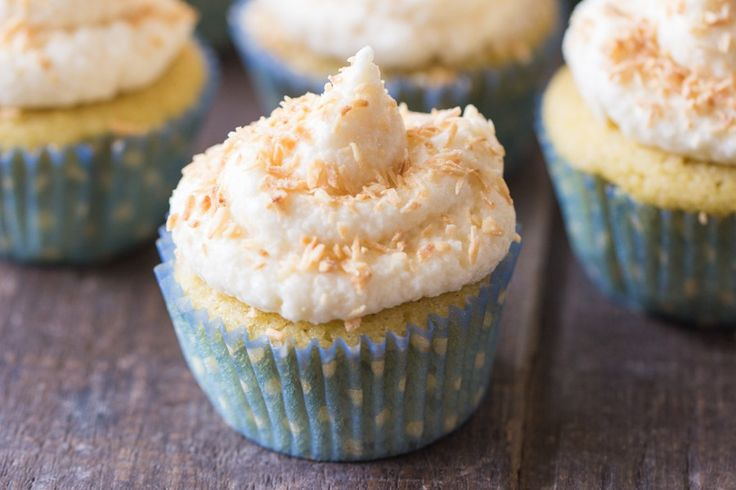 Vanilla Coconut Flour Cupcakes via @kingarthurflour.  Make totally low carb by replacing sugar with sweetener of choice and cream cheese sugar free frosting!