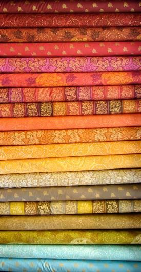 Indian fabrics! When in doubt go with yellow, yellow, yellow!!