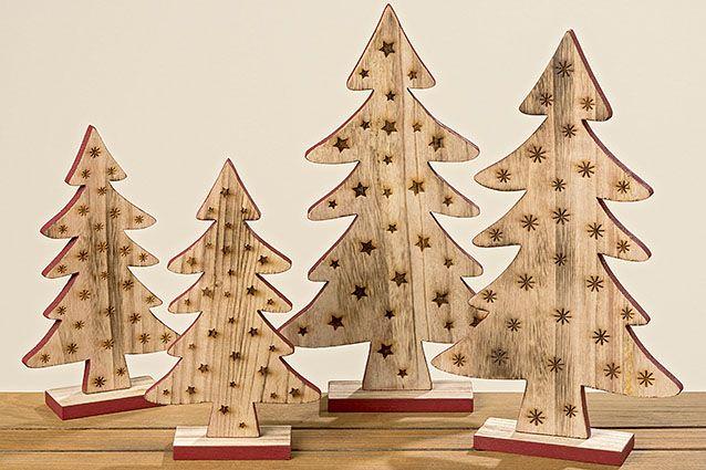 Holzbäume im Set #aufsteller #set #tannenbaum #holz #rot