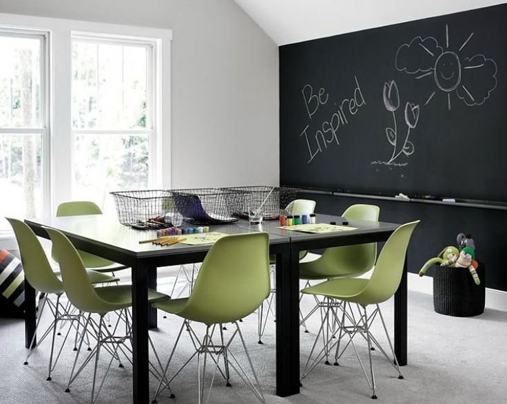 chalkboard wall might be nice.: Idea, Chalkboard Walls, Chalk Board, Homeschool Room, Playroom, Study Room, Kid, Rooms