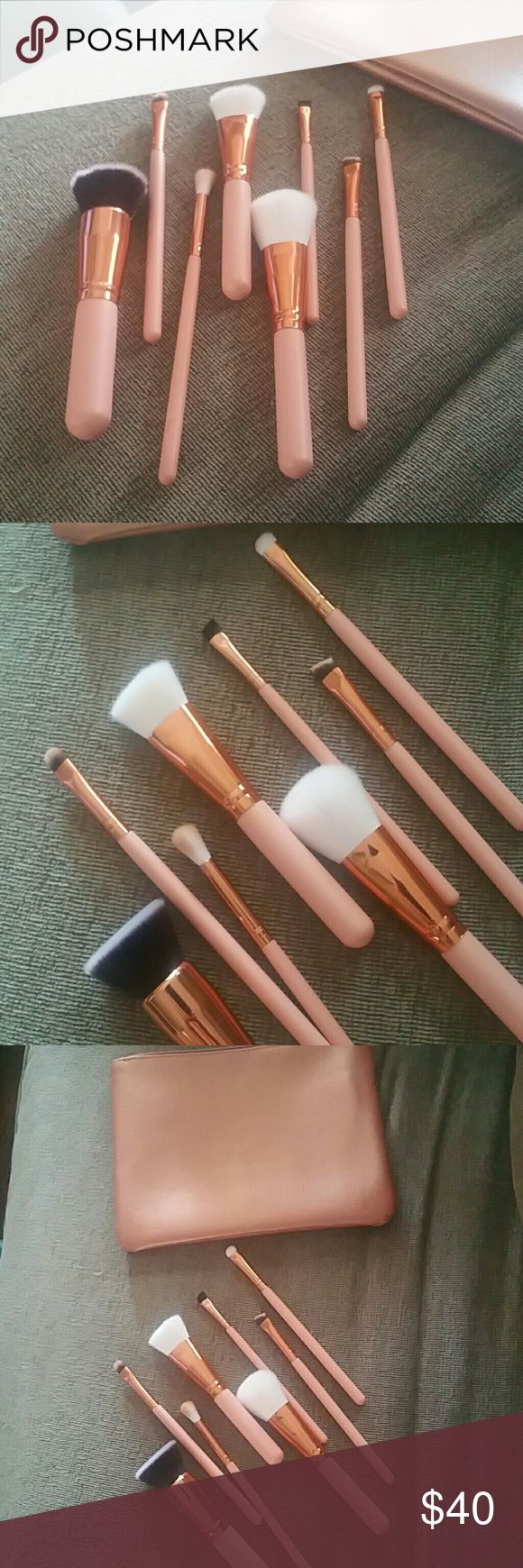 9 piece NWT brand new ultra soft bristle makeupSET 9 piece brush set high end professional brushes feels like MAC 8 brushes and matching bag to carry them NEW ultra soft great quality unique  Other