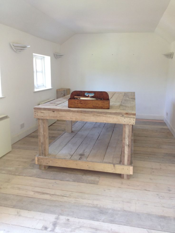 The Upholstery Studio  Table and Floor are made from reclaimed scaffold boards.  Workshops and Commissions Undertaken.