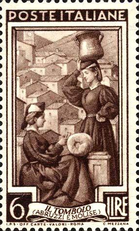 ITALY 1950 Lace-making -Scott #553. Abruzzi e Molise, Italy