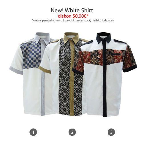 Koleksi kemeja putih yang pas buat ibadah di Bulan Ramadhan All Reday Stock diskon 50.000* *untuk pembelian min. 2 pcs s.d 19 Juli 2014 #kemejabatikmedogh http://medogh.com/baju-batik-pria/kemeja-batik-pria