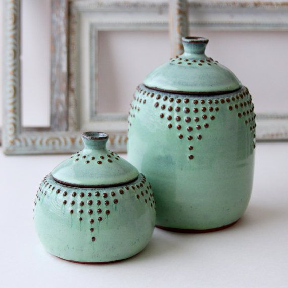 Large Lidded Jar – Canister 30 oz. – Rustic Aqua Mist – French Country Home Decor – MADE TO ORDER