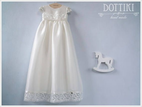 Baby Girl Christening Dress Christening Silk and Lace Gown