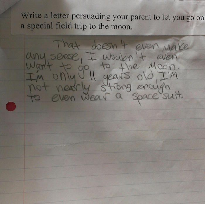 An 11-year-old kid had a hilariously smart-ass response to a school assignment about visiting the moon.   Smartassery   Someecards