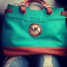 michael kors teal and brown leather purse - Google Search