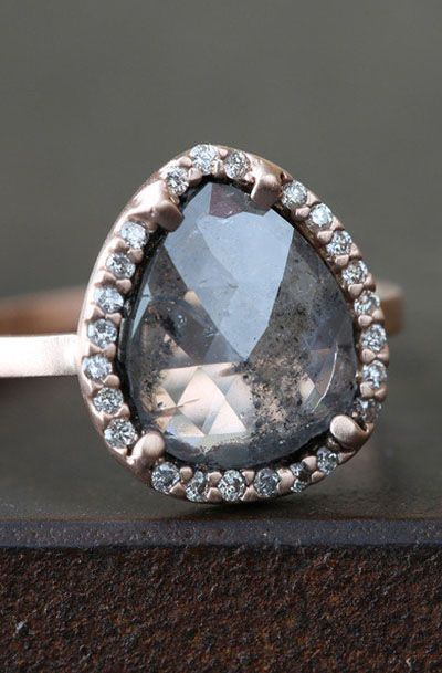Charcoal Gray Rose-cut Diamond Ring with Pave Halo