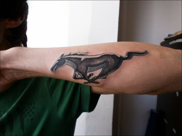 Back of the Lower Arm Grey Mustang Tattoo