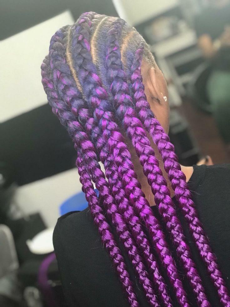 Purple Feed In Braids Brididit Alexandra Beautii