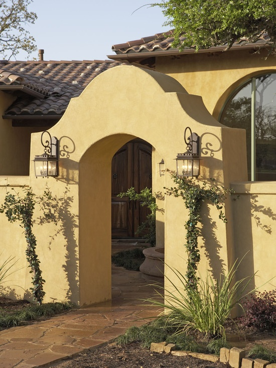 27 best images about santa fe gates on pinterest adobe for Spanish style exterior