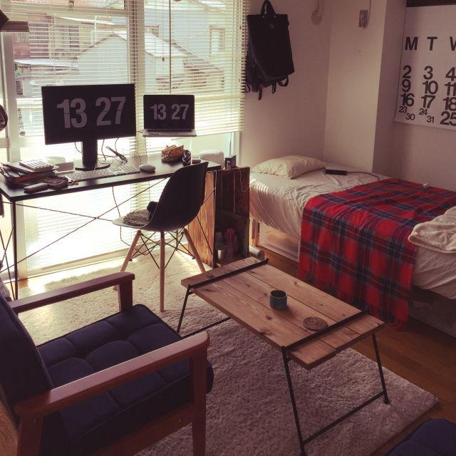 Bonさんの、部屋全体,無印良品,椅子,ワンルーム,一人暮らし,MacBook,のお部屋写真