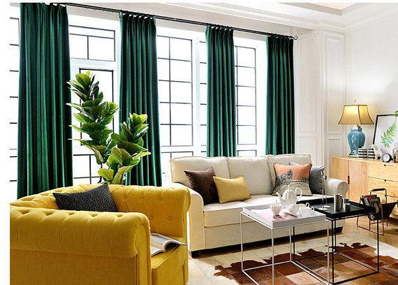 Pair Of Emerald Green Velvet Curtains Bedroom Velvet Etsy Green Curtains Living Room Emerald Green Living Room Living Room Green