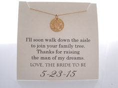 Mother of The Groom Necklace Mother of the by WearableWhispers …