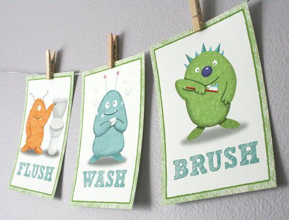 Kids Bathroom Art   Three 8 X 10 Bathroom Monster Prints, Nursery Decor,  Kids Wall Decor, Children Wall Art Part 98