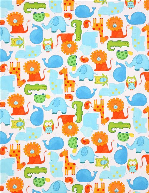 White animal safari fabric abc safari by studioe fabrics for Animal print fabric for kids