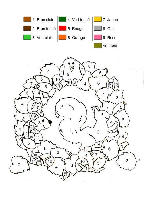 Coloriage magique - Ecureuil d'automne