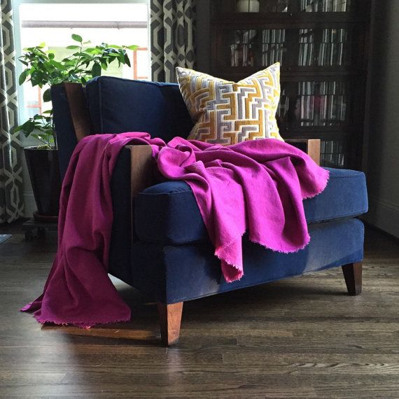 XL Magenta Linen Throw Blanket Eclectic Blanket Pink