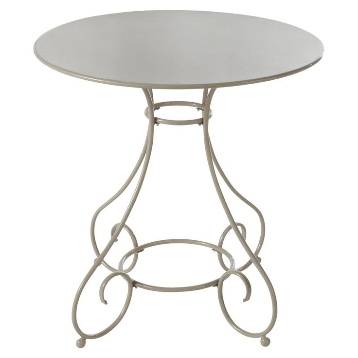 Table de jardin ronde métal taupe Mary