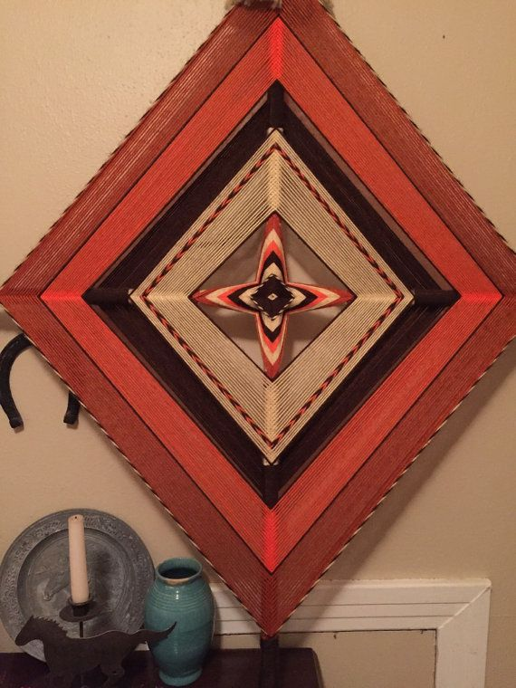"Mandala Art ~ Soutwestern Mandala ~  Orange, Cream, Brown ~ 52"" x 40"" Diamond, Ojo de Dios ~ Mandala Yarn Art"