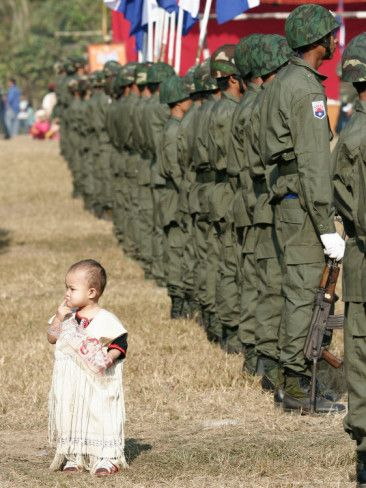 I think this picture beautiful because Karen army try to protest Karen people for being killed or torture by Burma government army. Because Burma government  try to take every Ethnic group land in Burma.Still today Karen army fight for Karen people rights and freedom in Karen state in Burma.Most of Karen people don't live in Karen state anymore because Burma army all most every where in Karen state.Today a lot of  Karen people live in refugee camps in Thailand & some are live in other…