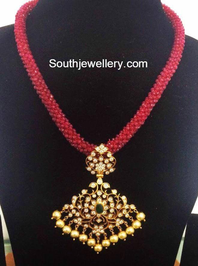 Indian Kempu Necklace Models Indian Diamond Jewellery