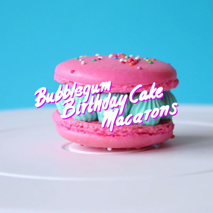 Vanilla macarons with bubble gum frosting — and a real cake center!