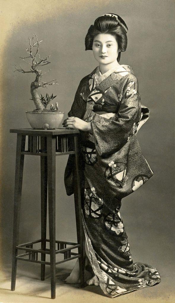 A Geiko with a Bonsai Tree 1930s