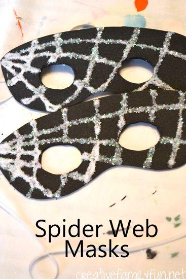 Spider activities: Spider crafts: Spider web glitter masks.