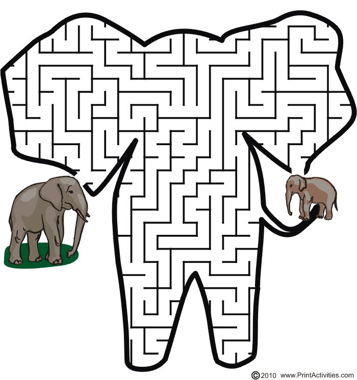 Elephant shaped maze from PrintActivities.com