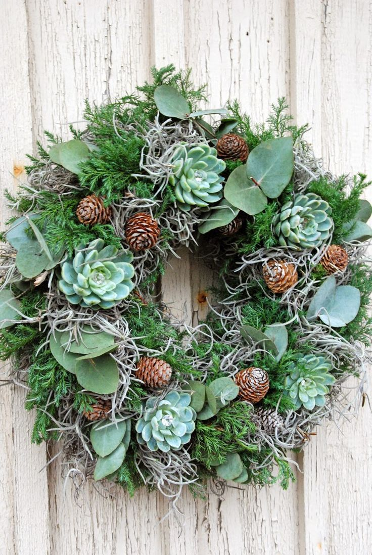 Succulents and pinecones make a cool combo.