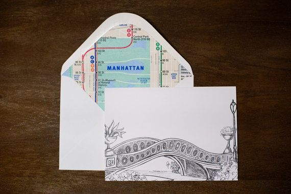 Wedding Thank You Card-Handmade New York City Card - Central Park Bow Bridge by Pineapple Street Designs