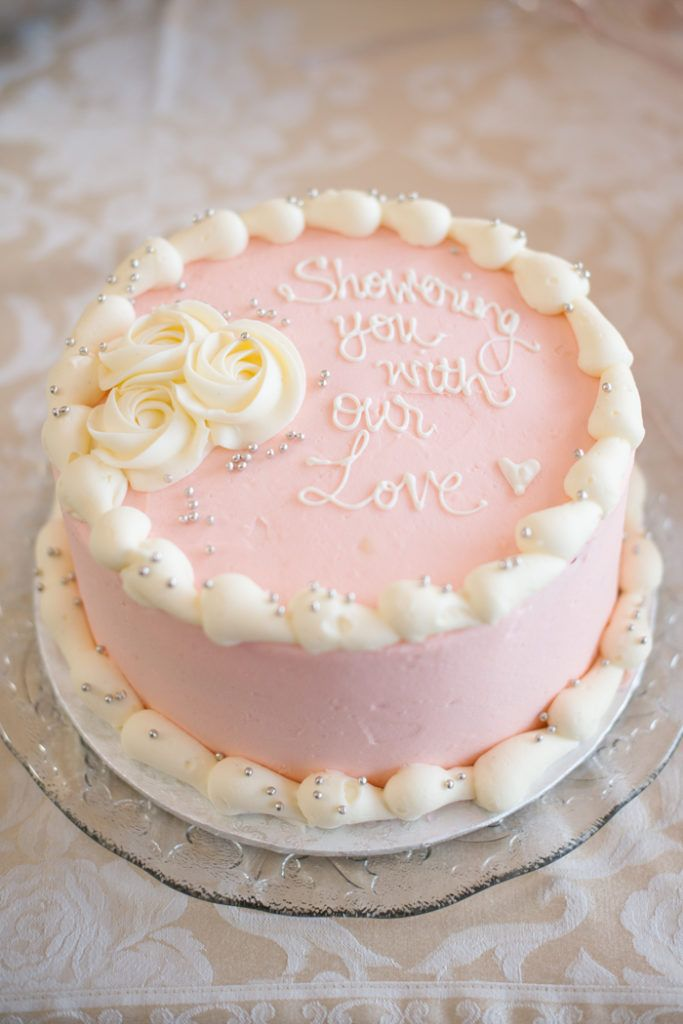 Sweet pink bridal shower cake - Spring Backyard Bridal Shower from Christy D. Swanberg's Photography