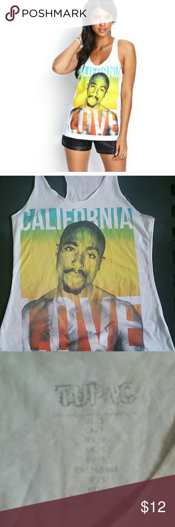 Tupac California Love tank small Gently worn and washed but still great condition Tops Tank Tops