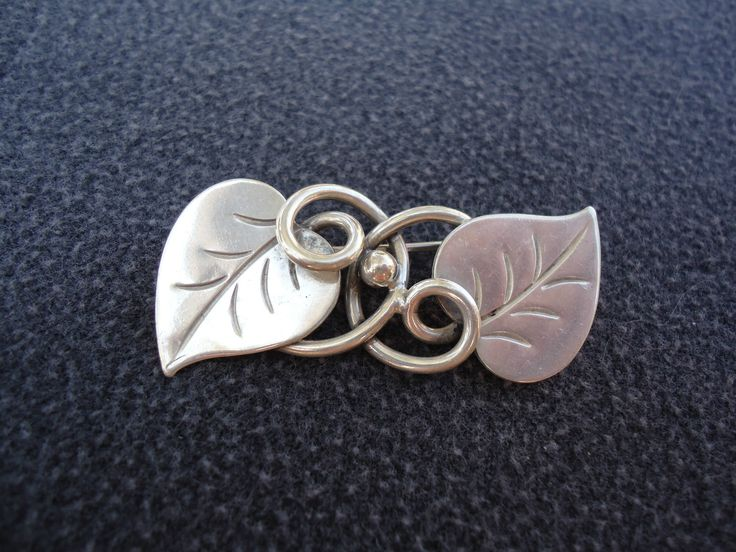 Georg Jensen Sterling Silver Leaf Brooch