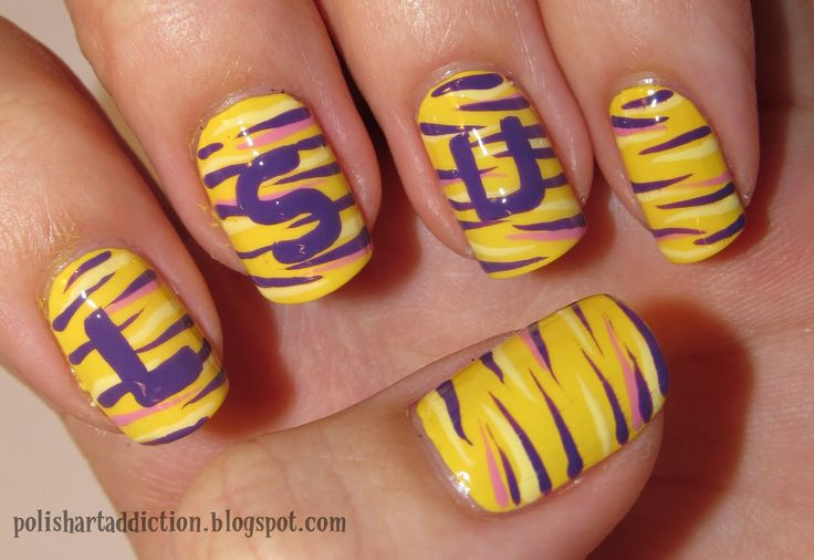 LSU nail designs would love way better if it was OU!!